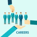 Career flat icon with male clerks group and standing on human hand vector illustration